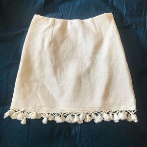 Lulus White tassel mini skirt